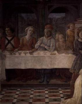 The Feast of Herod: detail of figures at central table (fresco)