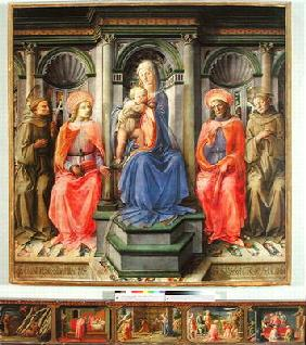 Madonna and Child Enthroned with SS. Francis, Cosmas, Damian and Anthony of Padua, c.1442-45 (temper