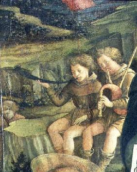 Two Musical Shepherds, detail from The Nativity