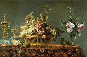 Quiet life with basket with grapes and a rose vase