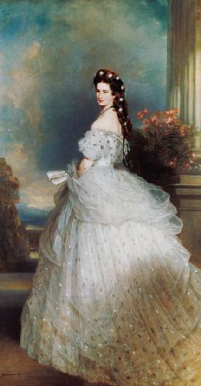 Empress Elisabeth in Courtly Gala Dress with Diamond Stars (Sissi) - -Empress of Austria/ Queen of H