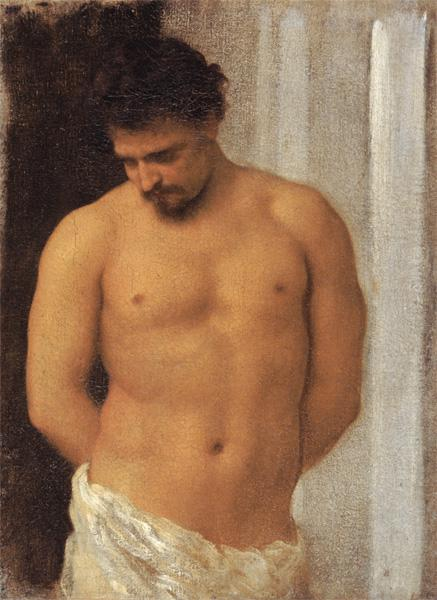 Study of a Male Figure (oil on canvas)