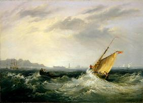 Cheshire at the Mouth of the River Mersey, 1838 (oil on canvas) (for pair see 257064)