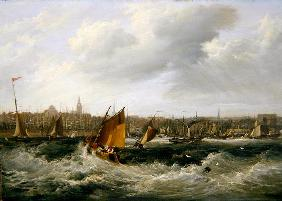 Liverpool, Lancashire from the River Mersey and New Brighton, 1838 (oil on canvas) (for pair see 257