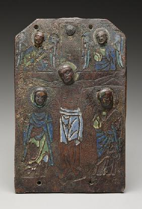 Fragment of a plaque from a reliquary chasse depicting the crucifixion, 1175/1200