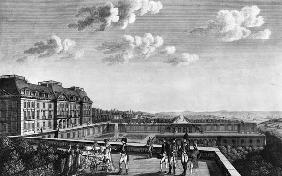 First steps of King of Rome on the terrace of Saint-Cloud; engraved by Dubois