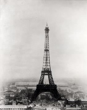 Construction of the Eiffel Tower, Paris, 31st March 1889 (b/w photo)