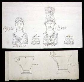 Designs for gilt bronze ormolu furniture mounts and French Empire porcelain cups