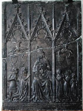 Funerary stela of the Sacquespee family, from the St. Nicaise cemetery, Tournai