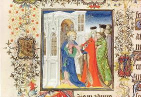 Ms Lat 919 fol.96 St. Peter Leading Jean de France (1340-1416) Duke of Berry into Paradise, from the