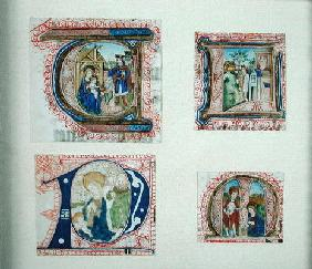 Four historiated initials depicting the Adoration of the Magi,