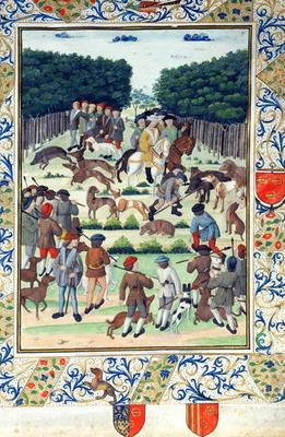 Louis Malet (1441-1516) Seigneur de Graville, hunting wild boar, from the 'Terrier de Marcoussis', 1