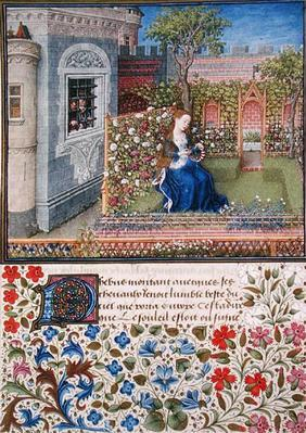 Ms. 2617 Emilia in her garden, Plate 22, from 'Teseida', by Giovanni Boccaccio (1313-75), 1468