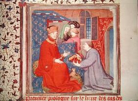 Ms Fr 131 f.1 Jean (1340-1416) Duke of Berry Receiving a Manuscript from Boccaccio, from 'Cas des No