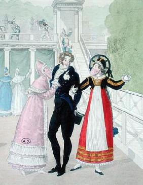 A dandy being courted by two masked women, from the series Le Bon Genre (hand-coloured engraving)