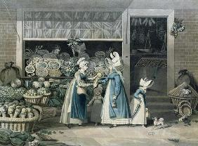 A Parisian Greengrocer's shop, early 19th century (colour litho)