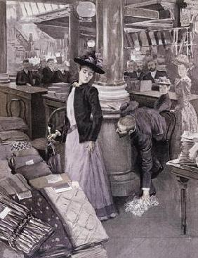 A Thief in a Department Store in Paris, illustration from 'Paradis des Dames', c.1895 (litho)