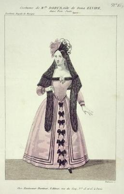 Costume for Mademoiselle Dorus in the Role of Donna Elvira in 'Don Giovanni', engraved by Maleuvre,