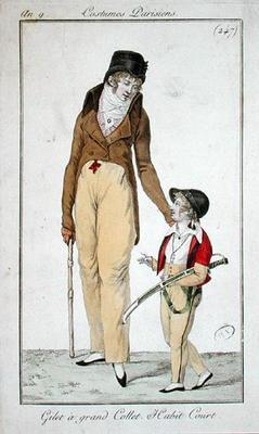 High necked waistcoat and short morning coat, from Costumes Parisiens, 1801 (coloured engraving)