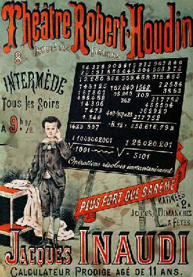Poster advertising an appearance of Jacques Inaudi (1867-1939) at the Theatre Robert Houdin, Paris,