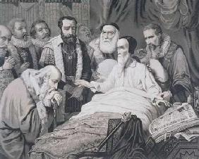 John Calvin (1509-1564) on his Death Bed (engraving)