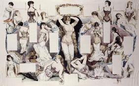 Layout illustrations for an article on women's underwear, from 'La Vie Parisienne', c.1870 (coloured