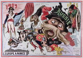 Map of 'Animated Europe' 1870 (colour litho)