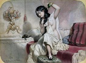 Oriental Woman at her Toilet, mid 19th century (colour litho)