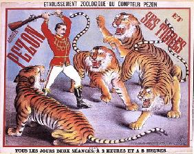 Poster advertising 'Adrien Pezon and his Tigers', c.1897 (colour litho)