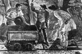 Scene in a coal mine, illustration from 'Germinal' by Emile Zola (1840-1902), 1886 (engraving) (b/w
