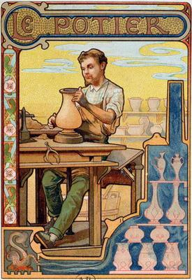 The Potter, illustration from a book on the crafts, c.1899 (colour litho)