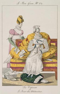 The Vapours or The Accounts Day, plate 62 from 'Le Bon Genre', 1813 (coloured engraving)