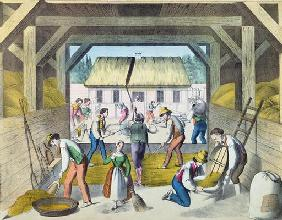 Work in the Farmyard, probably in Eastern France, 2nd half 19th century (colour litho)