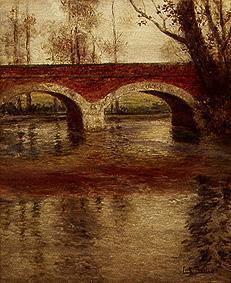 Thaulow, Frits : Riverside with bridge