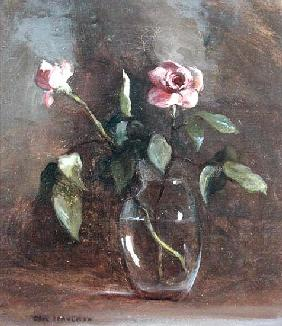 Pink Roses in Glass Vase (oil on canvas)