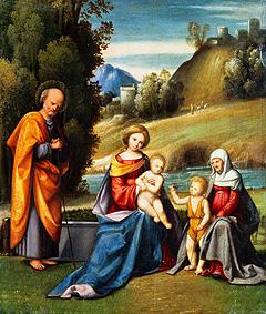 The Holy Family with Elisabeth and the Johannesknaben on a river shore