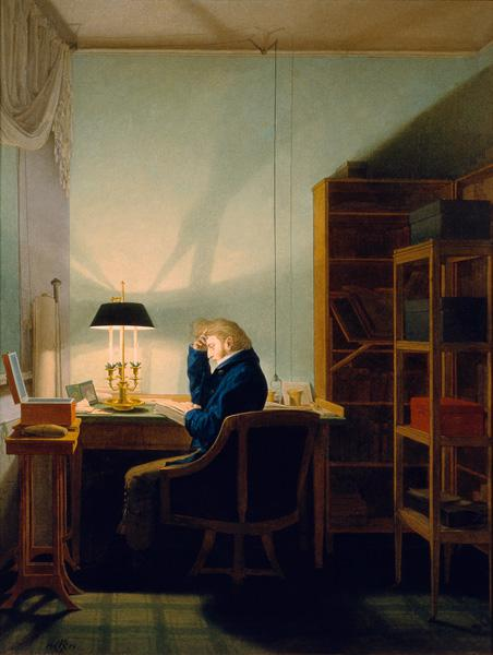 Kersting, Georg Friedrich : Reading at artificial ligh...