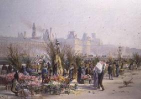 Fraipont, Georges : Flower Market by the Seine