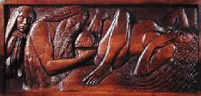 Birth, wooden bed panel