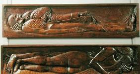 Death, wooden bed panel