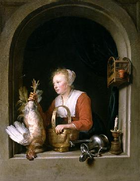 The Dutch Housewife or, The Woman Hanging a Cockerel in the Window