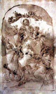 Virgin and Child with St. Dominic, St. Theresa and St. Coribian, c.1745 (brown wash over red chalk)