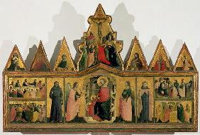 Polyptych: central panel depicting the Madonna and Child Enthroned with Angels and Saints surrounded