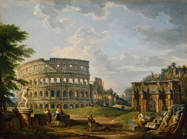Rome, Colosseum a.Arch of Const./Pannini