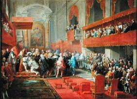 Presentation of the Order of the Holy Spirit to Prince Vaini by Paul-Hippolyte de Beauvillers (1684-