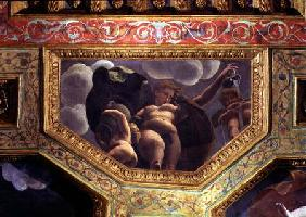 A nymph pouring water from a jug, a putto urinating and another putto holding an urn, ceiling caisso