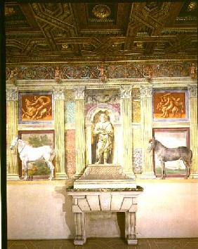Sala dei Cavalli with trompe l'oeil portraits of two horses, the god Jupiter and imitation bronze pa