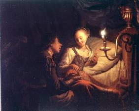 A Candlelight Scene: A Man Offering a Gold Chain and Coins to a Girl Seated on a Bed