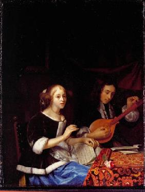 A Young Couple Making Music