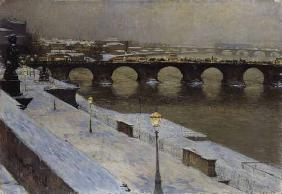 The Augustusbrücke to Dresden in the snow